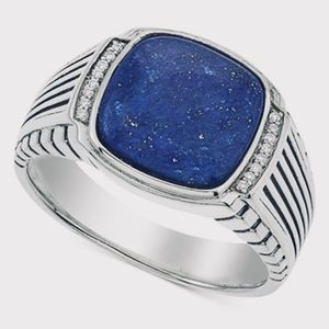 Esquire Lapis/Diamond Sterling Silver Ring 10.5 🆕